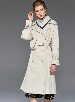 Brief Solid Color Lapel Trench Coat