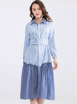 Lapel Striped Patchwork Shirt Dress