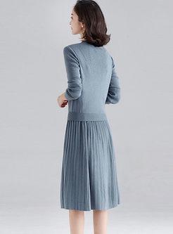 Brief O-neck A Line Sweater Suit Dress