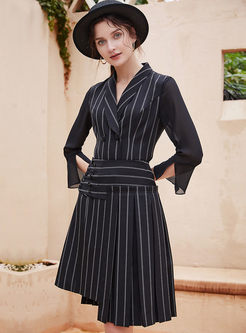 Turn Down Collar Striped Two Piece Outfits