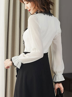 Standing Collar Lace Falbala Sweater