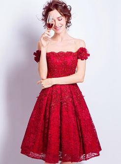 Embroidery Lace Floral SequinSlash Neck Short Sleeves Dresses