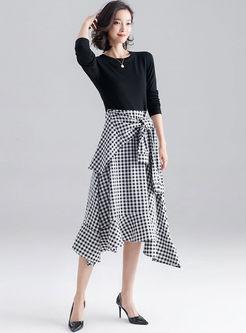 O-neck Long Sleeve Patchwork Plaid Dress