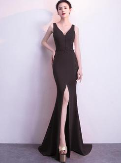 Sexy Skinny Solid Color Deep V Neck Sleeveless Maxi Dresses