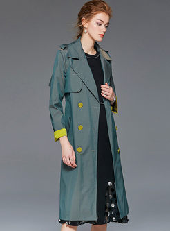 Notched Long Sleeve A Line Trench Coat