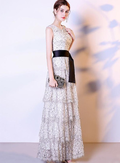 Exquisite Lace O-Neck Sleeveless Belted Elegant Dresses