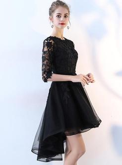 Lace Contrast Solid Color O-Neck Half Sleeves Mini Dresses
