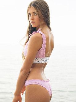 Sexy Pink Dots Splicing Tankini Swimwear