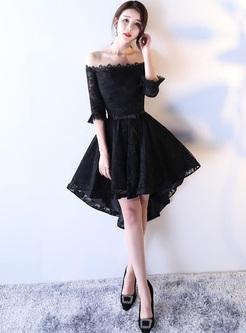 Lace Solid Color Sashes Slash Neck Half Sleeves Mini Dresses
