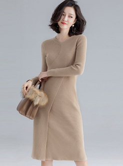 Solid Color O-neck Long Sleeve Knitted Dress