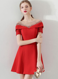 Embroidery Sequin Contrast O-Neck Short Sleeves Homecoming Dresses