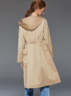Brief Khaki Hooded Tied Comfortable Trench Coat