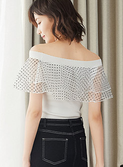 Casual All-matched Slash Neck Mesh Knitted Top