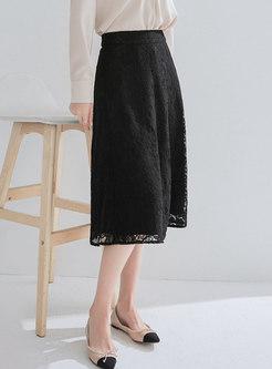 Pure Color High Waist Lace Slim A Line Skirt