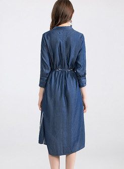 Casual Striped Tied Single-breasted T-shirt Dress