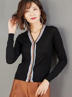 V-neck Color-blocked Diamond Striped Cardigan