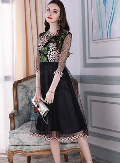Embroidery Hollow Out Midi Dresses