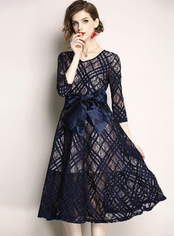 Hollow Out O-Neck Seven-Tenths Sleeves Midi Dresses