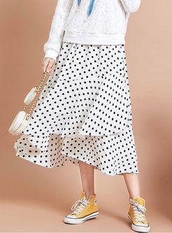 Sweet High Waisted Dot A Line Skirt