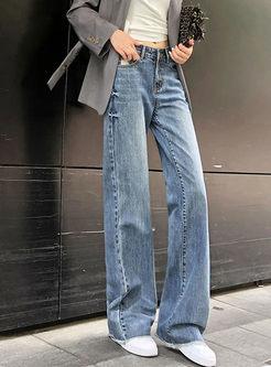 High Waisted Denim Wide Leg Pants