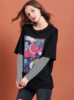 O-neck Cartoon Print Striped T-shirt