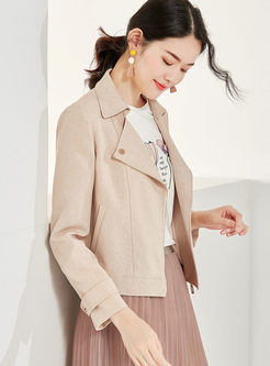 Lapel Long Sleeve Straight Jacket
