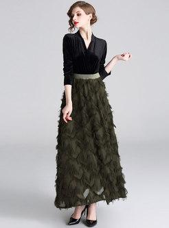 V-neck Gold Velvet Patchwork Fringed Maxi Dress