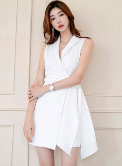 Work V-neck Tied Gathered Waist A Line Dress