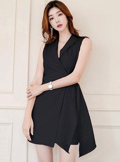 Stylish High Waist Sleeveless Slim Skater Dress