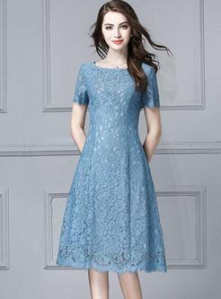 Solid Color O-Neck Short Sleeves A-Line Dresses