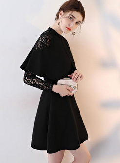 Lace Hollow Out Solid Color Long Sleeves High Waist Mini Dresses