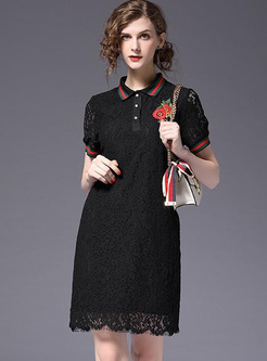 Embroidery Contrast Color Block Turn-down Collar Short Sleeves Mini A-Line Dresses