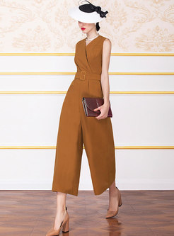 Casual V-neck High Waist Wide Leg Jumpsuit