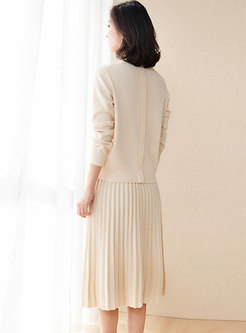 Pure Color Knitted Bowknot Pleated Two Piece Dress