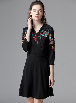 Stylish Embroidered Plus Size Skater Dress