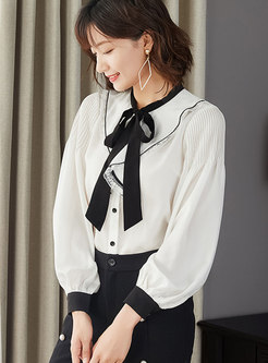 Casual Lace Tied Bowknot Zip-up Blouse