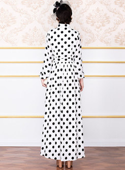 Vintage Notched Polka Dot Chiffon Maxi Dress