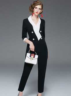 Work V-neck High Waist Color-blocked Jumpsuit