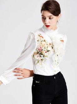 Chic Flower Print Lantern Sleeve Blouse