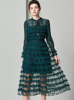 O-neck Long Sleeve Lace Cake Dress