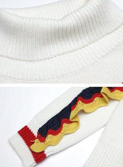 Turtleneck Falbala Patchwork Sweater