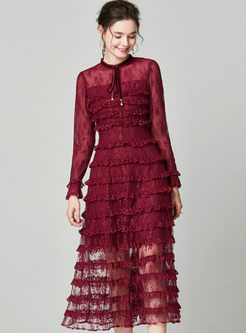 Perspective Lace Patchwork Cake Dress