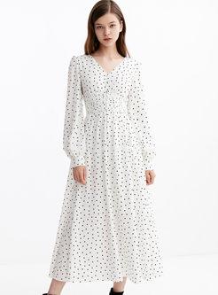 V-neck Dot Puff Sleeve Maxi Dress