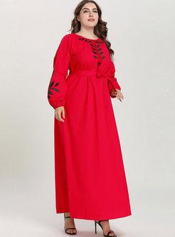 Plus Size Long Sleeve Maxi Dress