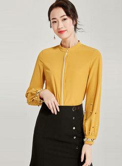 Yellow Standing Collar Beading Blouse