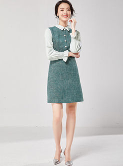 Turn Down Collar Patchwork Slim Dress
