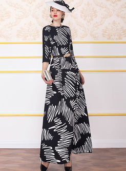 O-neck Print 3/4 Sleeve Maxi Dress