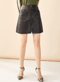Brief All-matched High Waist Slim Skirt