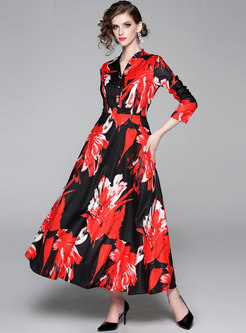 Chic V-neck Print Big Hem Maxi Dress