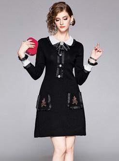 Doll Collar Long Sleeve Beading Sweater Dress